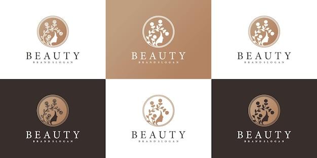 Ensemble de modèle de conception de logo de beauté femme avec un style d'art floral unique vecteur premium