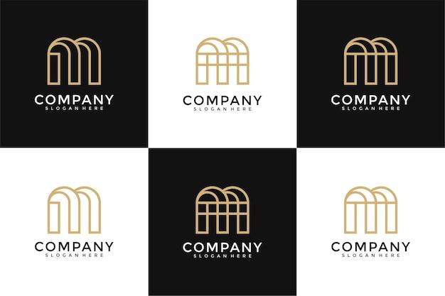 Ensemble de modèle de conception de logo collection monogramme lettre m
