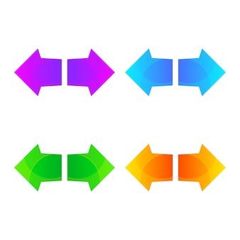 Ensemble de modèle de conception de logo coloré flèche