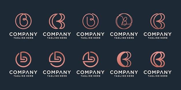 Ensemble de modèle de conception de logo créatif lettre b. icônes pour les affaires de luxe, élégantes, simples.