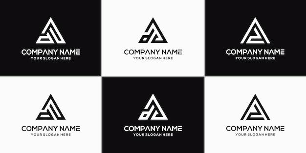 Ensemble de modèle de conception de logo créatif lettre da