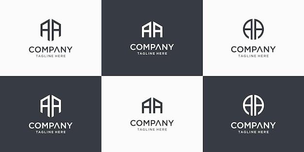 Ensemble de modèle de conception de logo créatif lettre monogramme abstrait aa