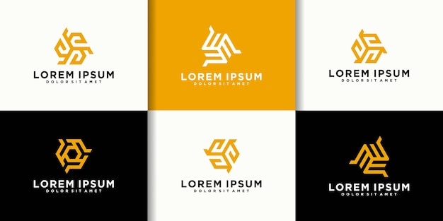 Ensemble de modèle de conception de logo créatif lettre se
