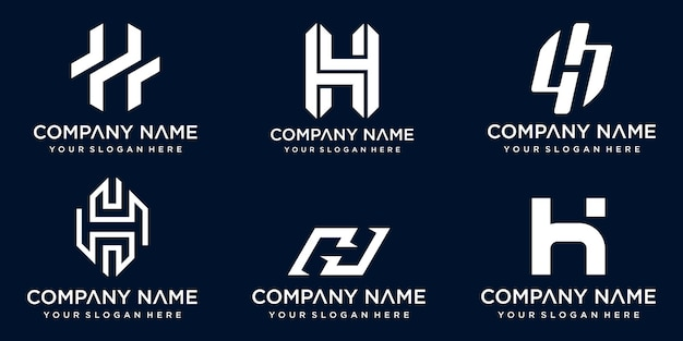 Ensemble de modèle de conception de logo créatif monogramme abstrait lettre h