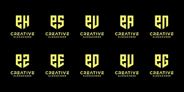 Ensemble de modèle de conception de logo créatif monogramme lettre e