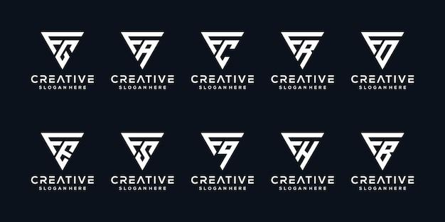 Ensemble de modèle de conception de logo créatif monogramme lettre f