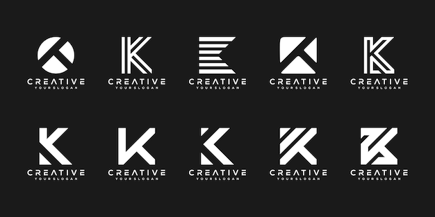 Ensemble de modèle de conception de logo créatif monogramme lettre k. le logo peut être utilisé pour l'entreprise de construction.