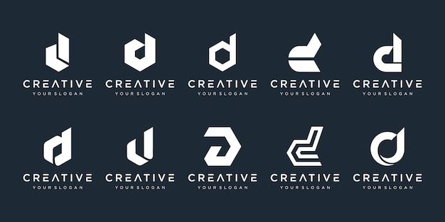 Ensemble de modèle de conception de logo créatif monogramme lettre d. le logo peut être utilisé pour l'entreprise de construction.