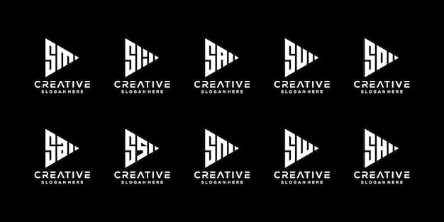Ensemble de modèle de conception de logo créatif monogramme lettre s