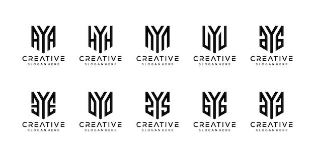 Ensemble de modèle de conception de logo créatif monogramme lettre y