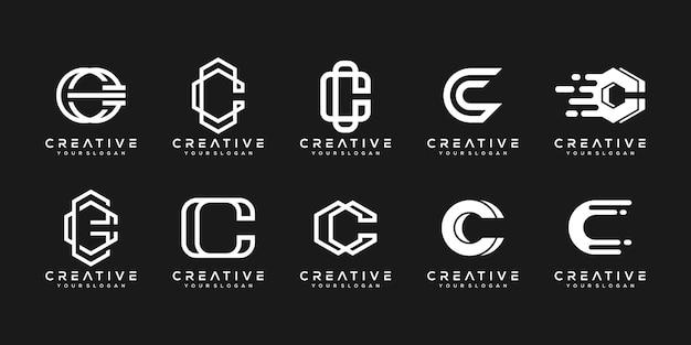 Ensemble de modèle de conception de logo créatif monogramme lettre c.