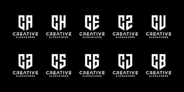 Ensemble de modèle de conception de logo créatif monogramme lettre c
