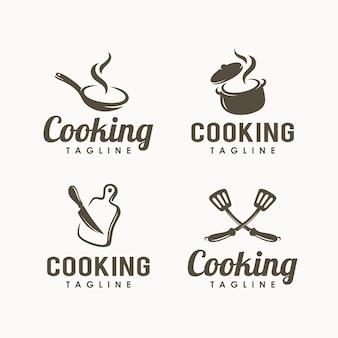 Ensemble de modèle de conception de logo de cuisine
