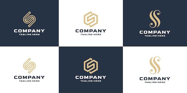 Ensemble de modèle de conception de logo d'entreprise lettre s