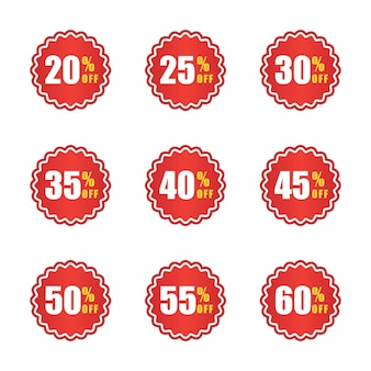 Ensemble de modèle de conception de logo d'étiquette de prix et de remise
