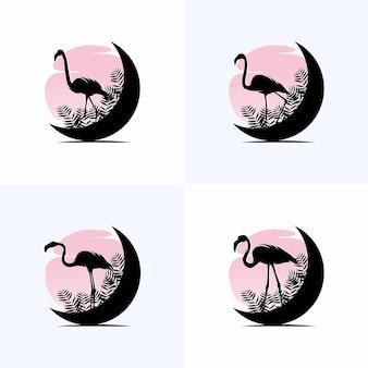Ensemble de modèle de conception de logo flamant rose