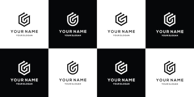 Ensemble de modèle de conception de logo de flèche lettre g
