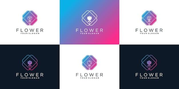 Ensemble de modèle de conception de logo de fleur abstraite pour salon de beauté vecteur premium