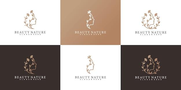 Ensemble de modèle de conception de logo de fleur de visage de femme de beauté avec un style d'art de ligne moderne vecteur premium