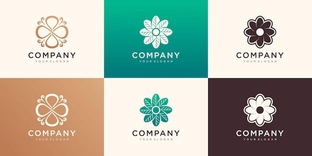 Ensemble de modèle de conception de logo de fleur