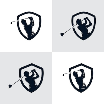 Ensemble de modèle de conception de logo golf sport silhouette
