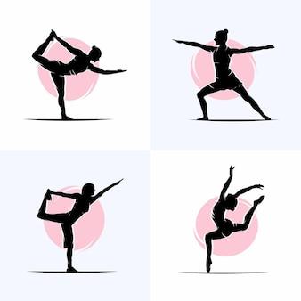 Ensemble de modèle de conception de logo de gymnastique