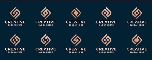 Ensemble de modèle de conception de logo initial abstrait