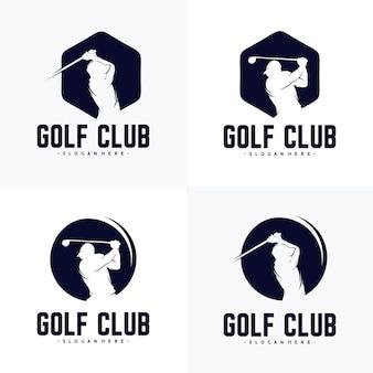 Ensemble de modèle de conception de logo de joueur de golf