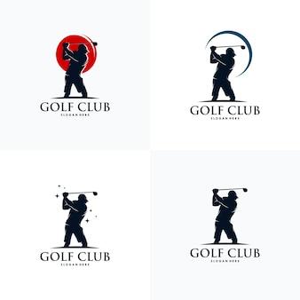 Ensemble De Modèle De Conception De Logo De Joueur De Golf Vecteur Premium
