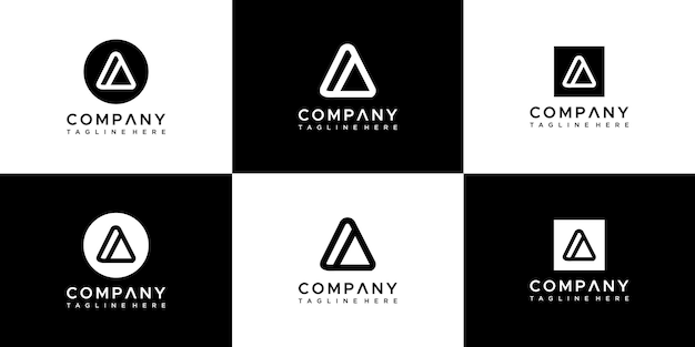 Ensemble de modèle de conception de logo lettre abstraite