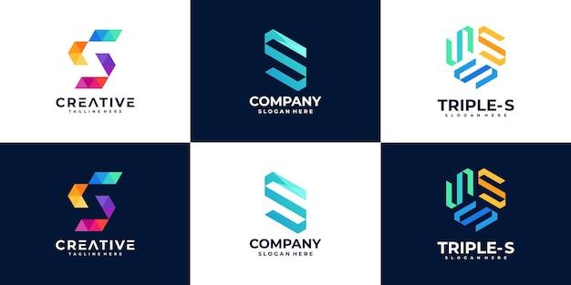 Ensemble de modèle de conception de logo lettre créative s