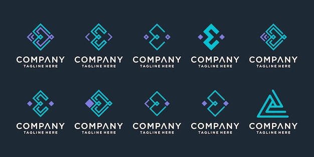 Ensemble de modèle de conception de logo lettre e créatif monogramme.