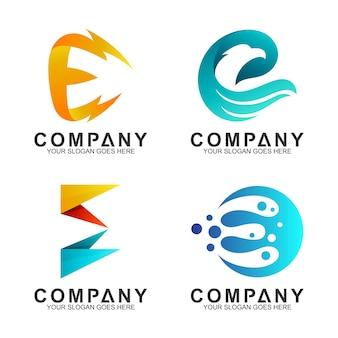 Ensemble de modèle de conception de logo lettre e