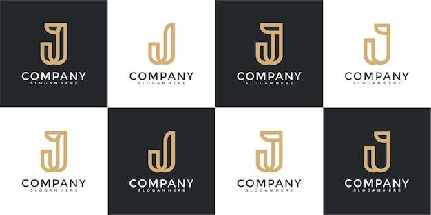 Ensemble de modèle de conception de logo de lettre initiale de collection j