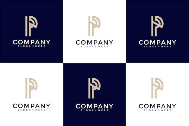 Ensemble de modèle de conception de logo de lettre initiale de collection p