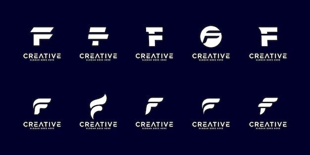 Ensemble de modèle de conception de logo de lettre initiale f.