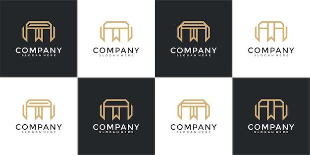 Ensemble de modèle de conception de logo de lettre initiale m de collection