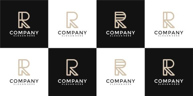 Ensemble de modèle de conception de logo de lettre initiale r de collection