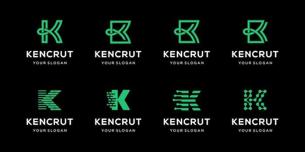 Ensemble de modèle de conception de logo lettre k créative