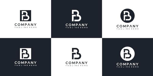 Ensemble de modèle de conception de logo lettre rb abstraite
