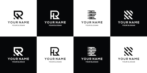 Ensemble de modèle de conception de logo lettre rh