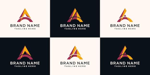 Ensemble de modèle de conception de logo lettre a avec un style unique. vecteur de prime