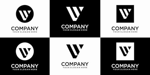 Ensemble de modèle de conception de logo lettre v monogramme abstrait créatif