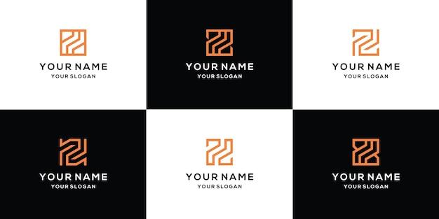 Ensemble de modèle de conception de logo lettre z
