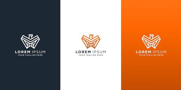Ensemble de modèle de conception de logo de ligne falcon