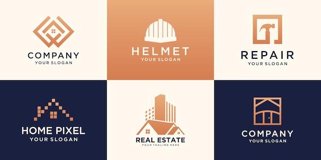 Ensemble de modèle de conception de logo de maison créative.