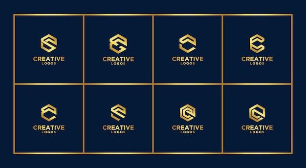 Ensemble de modèle de conception de logo monogramme abstrait créatif. logotypes pour les entreprises de luxe, élégantes, simples. lettre c