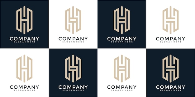 Ensemble de modèle de conception de logo monogramme créatif lettre h