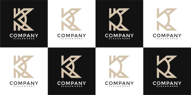 Ensemble de modèle de conception de logo monogramme créatif lettre k