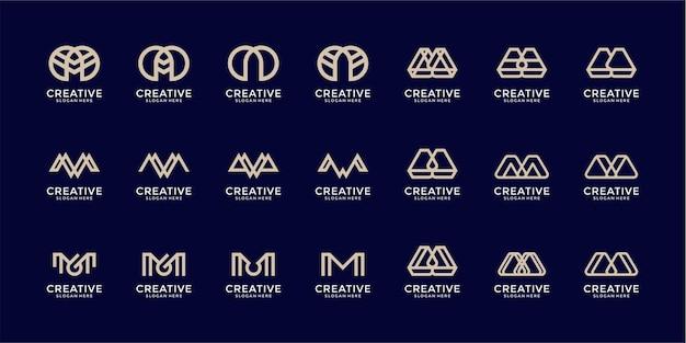Ensemble de modèle de conception de logo monogramme créatif lettre m